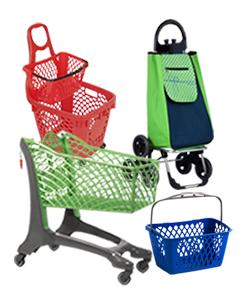Chariot supermarché, panier plastique et chariot de course