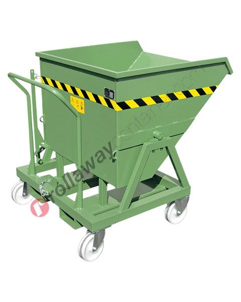 Benne basculante au sol ou en levage à 4 roues capacité 1000 kg