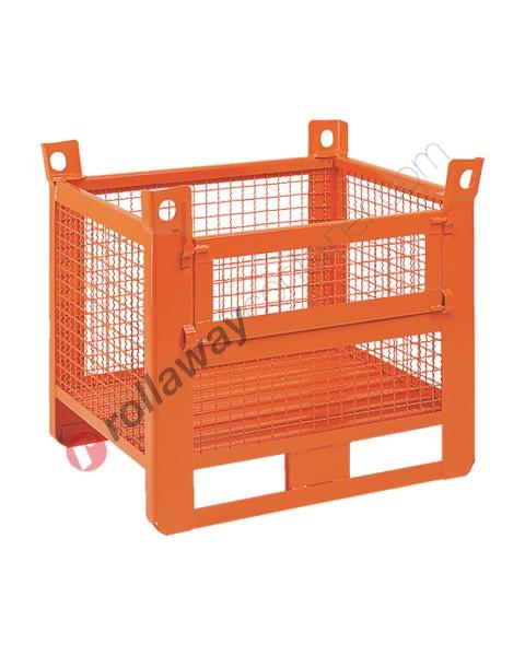 Caisse grillagée lourde avec semelles sur le côté long et porte