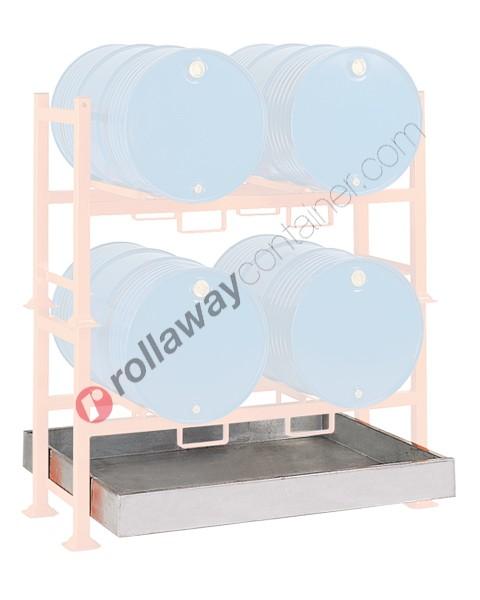 Bac de rétention produit chimique 270 litres en acier galvanisé 1390 x 1160 x 170 mm pour 2 fûts