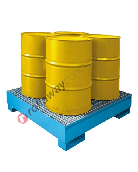 Bac de rétention produit chimique 300 litres en acier galvanisé et peint avec grille 1355 x 1255 x 290 mm pour 4 fûts