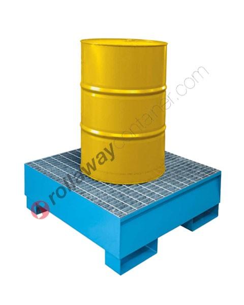 Bac de rétention produit chimique 200 litres en acier galvanisé et peint avec grille 960 x 960 x 332 mm pour 1 fût