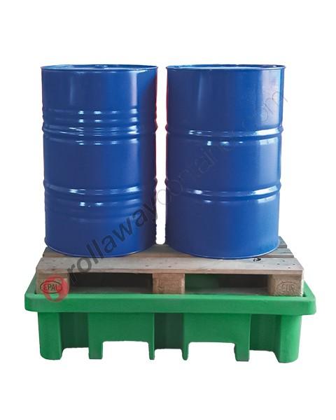 Bac de rétention plastique 210 litres à charge directe 1300 x 900 x 330 mm pour 2 fûts