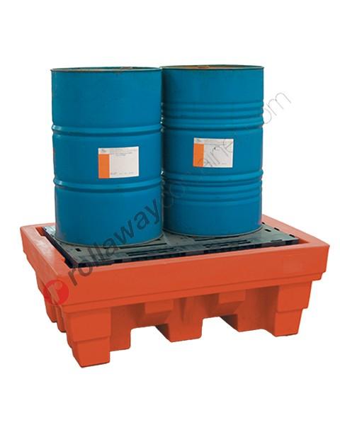 Bac de rétention plastique 370 litres avec grille 1020 x 1420 x 520 mm pour 2 fûts