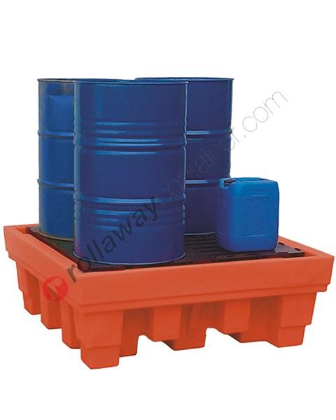 Bac de rétention plastique 550 litres avec grille de 1420 x 1420 x 520 mm pour 4 fûts