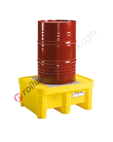 Bac de rétention plastique 225 litres avec grille 925 x 800 x 420 mm pour 1 fût