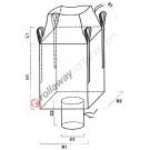 Big bag anti déformant pour palette avec jupe de fermeture et goulotte de vidange
