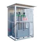 Box de stockage de bouteilles de gaz en acier galvanisé avec cadre de support 1550 x 1210 mm