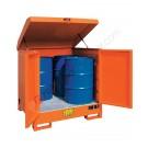 Box de rétention en acier peint 1350 x 1260 x 1540 mm pour 4 fûts de 200 lt