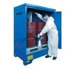 Box de rétention en acier galvanisé peint 1360 x 920 x 1845 mm pour 2 fûts de 200 lt