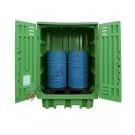 Box de rétention en polyéthylène 1540 x 1000 x 1940 mm pour 2 fûts