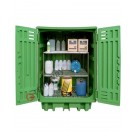 Box de rétention en polyéthylène 1540 x 1000 x 1940 mm avec rayonnage
