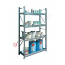 Rayonnage métallique 1305 x 400 x 2200 mm avec 4 etagere de rétention