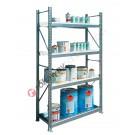Rayonnage métallique 1305 x 600 x 2200 mm avec 1 etagere de retention et 3 etageres grillees