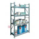 Rayonnage métallique 1305 x 600 x 2200 mm avec 4 etagere de rétention