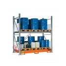 Rayonnage avec bac de retention pour 16 futs 200 lt vertical 2 etages