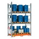Rayonnage avec bac de rétention pour 24 futs 200 lt vertical 2 etages