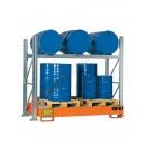 Rayonnage avec bac de rétention pour 3 futs 200 lt horizontal et 3 futs 200 lt vertical