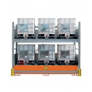 Rayonnage avec bac de rétention pour 6 cuves de 1000 lt 2 etages