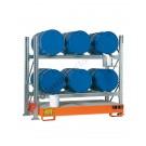 Rayonnage avec bac de rétention pour 6 futs 200 lt horizontal 2 etages