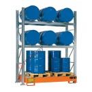 Rayonnage avec bac de rétention pour 6 futs 200 lt horizontal et 3 futs 200 lt vertical