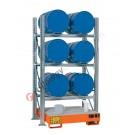 Rayonnage avec bac de rétention pour 6 futs 200 lt horizontal 3 etages