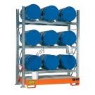 Rayonnage avec bac de rétention pour 9 futs 200 lt horizontal 3 etages