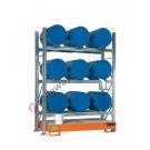 Rayonnage avec bac de rétention pour 9 futs 60 lt horizontal 3 etages