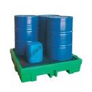 Bac de rétention plastique 260 litres avec grille 1320 x 1320 x 270 mm pour 4 fûts