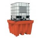 Bac de rétention huile 1150 litres en polyéthylène pour cuves avec grille 1420 x 1420 x 1000 mm