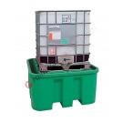 Bac de rétention huile 1100 litres en polyéthylène pour cuves avec table de support 1580 x 1520 x 720 mm
