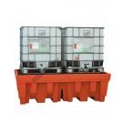 Bac de rétention huile 1400 litres en polyéthylène pour cuves avec grille de 2400 x 1420 x 740 mm