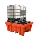 Bac de rétention huile 1070 litres en polyéthylène pour cuves avec grille et poche 1420 x 1800 x 770 mm