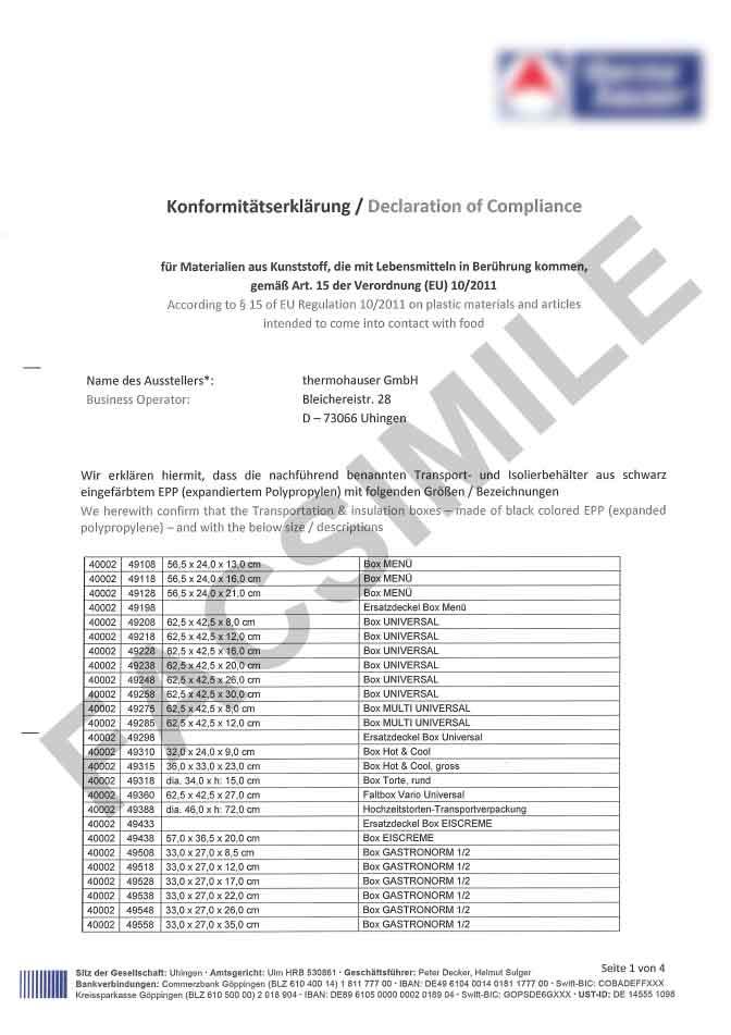 Certificat de conformité alimentaire page 1