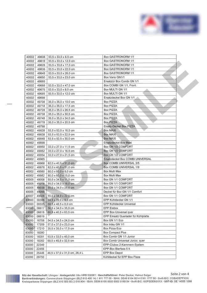 Certificat de conformité alimentaire page 2