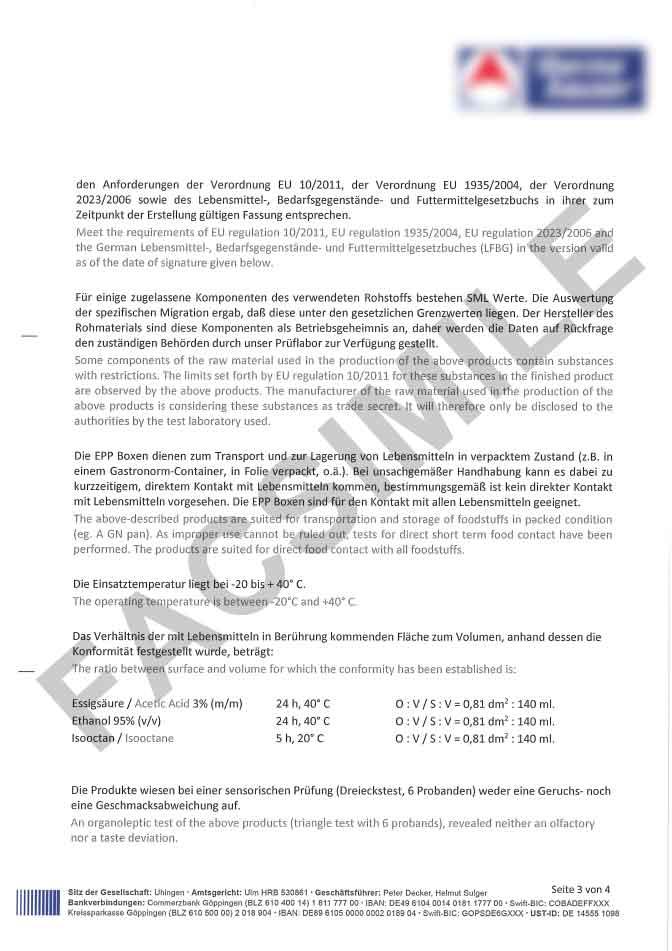 Certificat de conformité alimentaire page 3