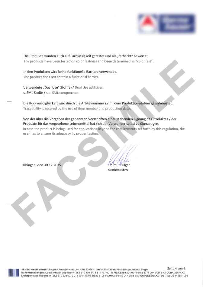 Certificat de conformité alimentaire page 4