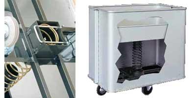 Détails chariot à linge en aluminium à fond mobile