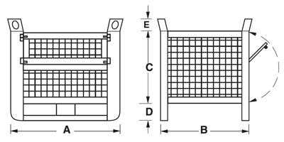 Dimensions caisse grillagée lourde avec semelles sur le côté long et porte
