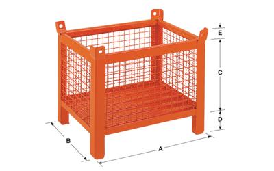Dimensions caisse grillagée petit avec pieds en tube carré