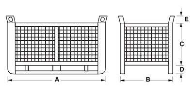Dimensions caisse grillagée lourde avec semelles sur le côté long maxi grand