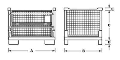 Dimensions caisse grillagée pliable et empilable avec porte