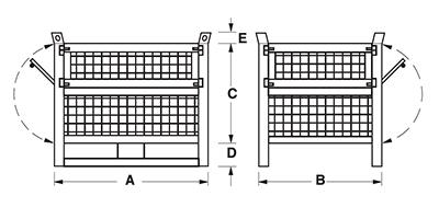 Dimensions caisse grillagée avec semelles sur le côté long et 2 portes