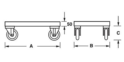 Dimensions châssis avec roues pour la manutention de caisses palettes métalliques